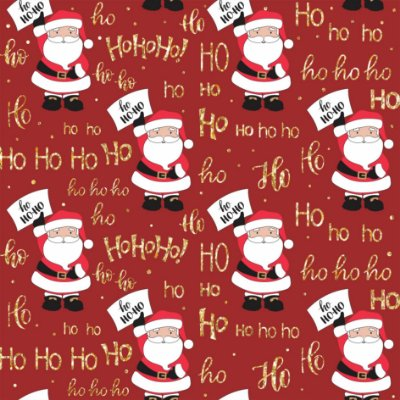 Tecido Tricoline Papai Noel Ho Ho Ho 5065 Vermelho - Natal