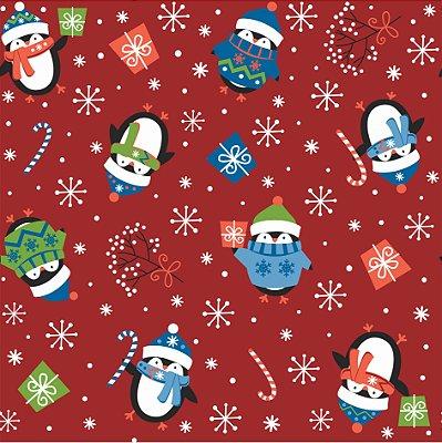 Tecido Tricoline Pinguim 6166 - Natal