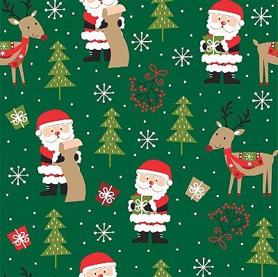 Tecido Tricoline Papai Noel E Rena Verde 7122 - Natal