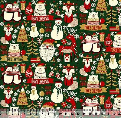 Tecido Tricoline Merry Christmas  Verde 5421- Natal