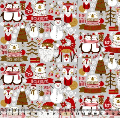 Tecido Tricoline Merry Christmas  Cinza 5421- Natal