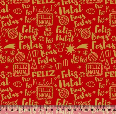 Tecido Tricoline Feliz Natal Vermelho 4022-02 - Natal