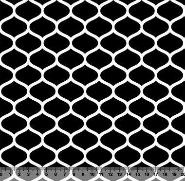 Tecido Tricoline Favos Geométricos Preto 2858-12