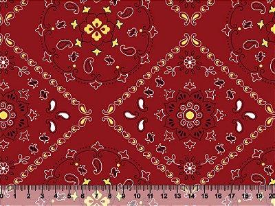 Tecido Adesivado Mandala Vermelho V499-5000-03 -- 0,50 m x 1,00 m
