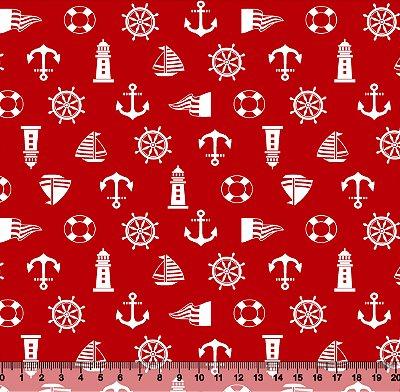Tecido Adesivado Âncora Farol Fundo Vermelho V853-5196-01 -- 0,15 m x 1,00 m