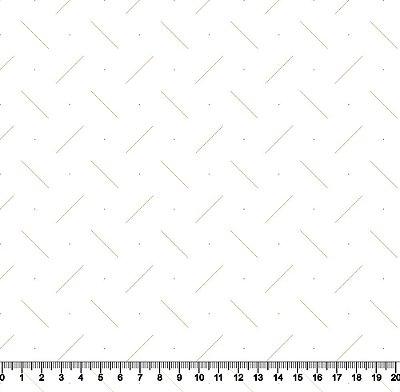 Tecido Tricoline Traços Dourados com Fundo Branco 3970-27