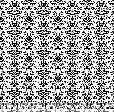Tecido Tricoline Arabesco Minimalista Preto Fundo Branco 5256-04