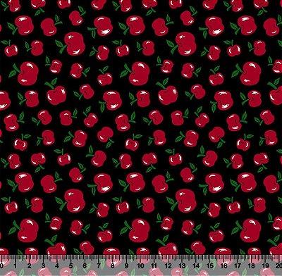 Tecido Tricoline Pequenas Maçãs com Fundo Preto 5003-02