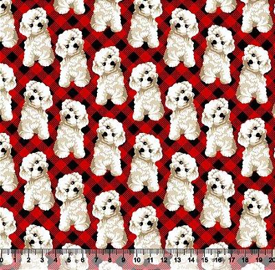 Tecido Tricoline Cachorro Fundo Xadrez Vermelho 3319-01