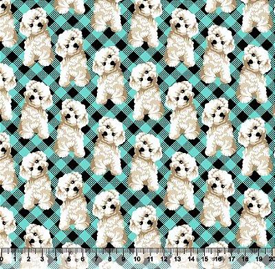 Tecido Tricoline Cachorro Fundo Xadrez Azul 3319-02