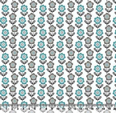 Tecido Tricoline Listras de Flores Azuis 5370-02