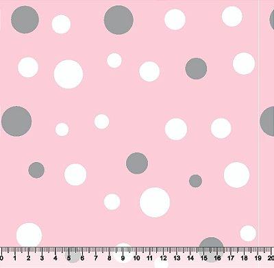 Tecido Tricoline Poá Grande Fundo Rosa 2063-11