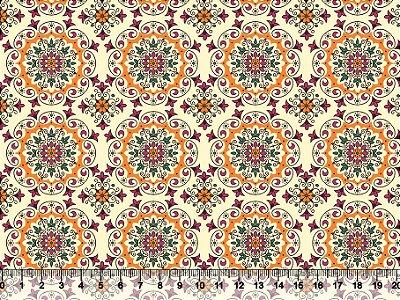 Tecido Tricoline Mandala Arabesco Amarelo 2630-01