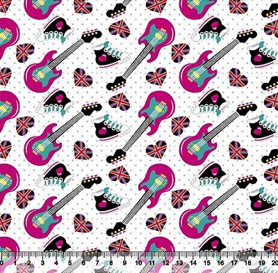 Tecido Tricoline Guitarra Rosa e Tênis 5406-01