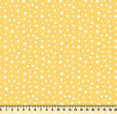 Tecido Tricoline Estrelinhas Brancas e Fundo Amarelo 5362-01
