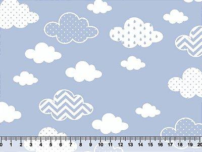 Tecidos Tricoline Nuvens Estampadas com Fundo Azul 2867-01