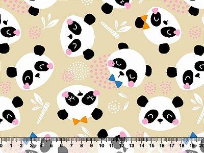 Tecido Tricoline Panda Fofo com Fundo Bege 2783-02