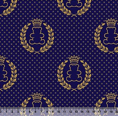 Tecido Tricoline Ursinho Coroa Dourada com Fundo Azul Marinho 2644-13