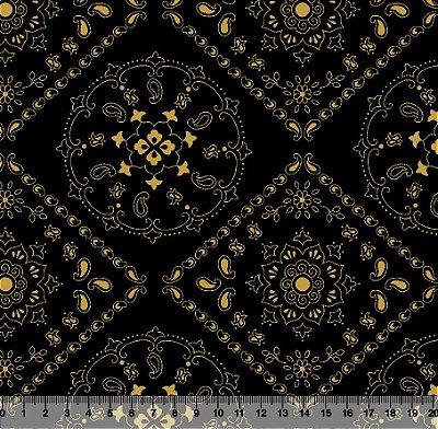 Tecido Tricoline Mandala Preto 5000-04