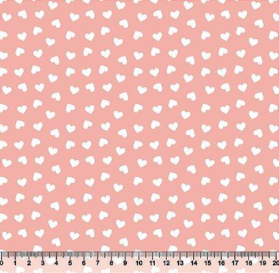 Tecido Tricoline Coração Branco com Fundo Rosa Seco 2339-24