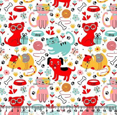 Tecido Tricoline Pets Fofinhos Vermelho, Amarelo e Rosa 5444-01
