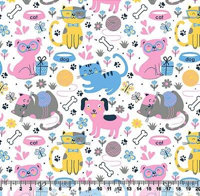 Tecido Tricoline Pets Fofinhos Rosa Bebê, Cinza e Amarelo 5444-02