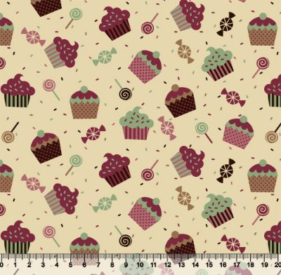 Tecido Tricoline Cupcake com Fundo Bege 5067-02