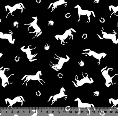 Tecido Tricoline Cavalos Brancos com Fundo Preto 2508-12