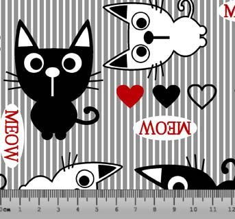 Tecido Tricoline Gato Meow com Fundo Cinza 5095-03