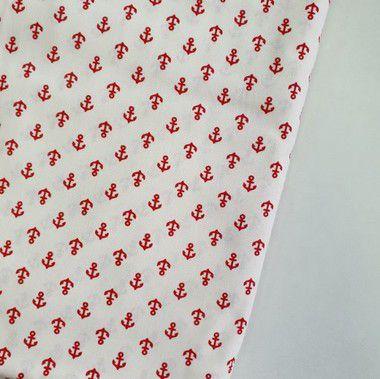 Tecido Tricoline Mini Âncora Vermelha com Fundo Branco