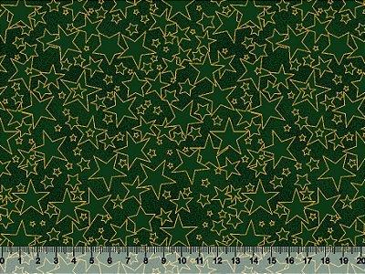 Tecido Tricoline Estrelas Douradas com Fundo Verde 5308-02 - Natal