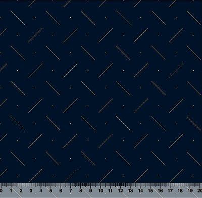 Tecido Tricoline Traços Dourados com Fundo Azul Marinho 3970-16