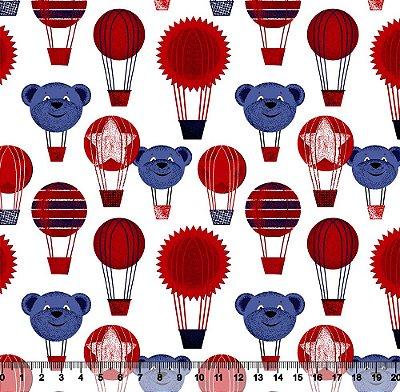 Tecido Tricoline Balão de Urso Vermelho e Azul 2427-05