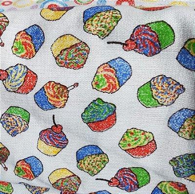 Tecido Pano de Copa Cupcakes Coloridos V2133