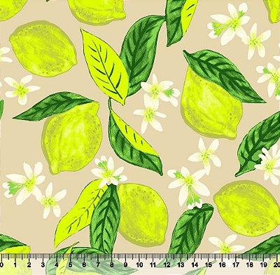 Tecido Tricoline Limão Siciliano com Fundo Bege 3775-04