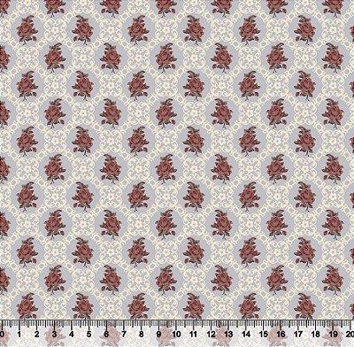 Tecido tricoline mini buquê com molduras arabescos