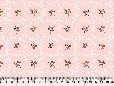 Tecido tricoline floral com molduras de raminhos