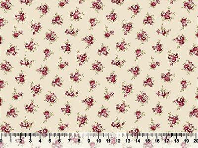 Tecido tricoline mini buquê de rosas clássico