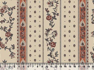 Tecido tricoline floral barrado