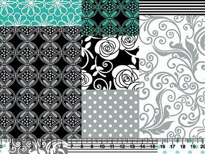 Tecido tricoline patchwork floral étnico