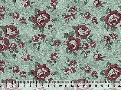 Tecido tricoline floral rosas grandes fundo textura