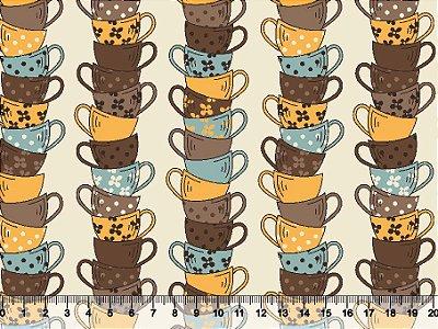 Tecido tricoline xícaras