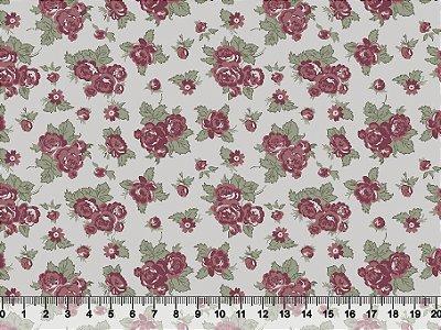 Tecido tricoline floral Rosas