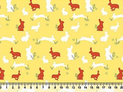 Tecido tricoline coelho