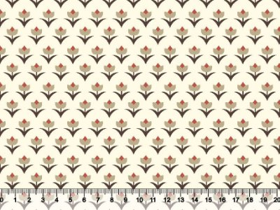 Tecido tricoline tulipas folhas