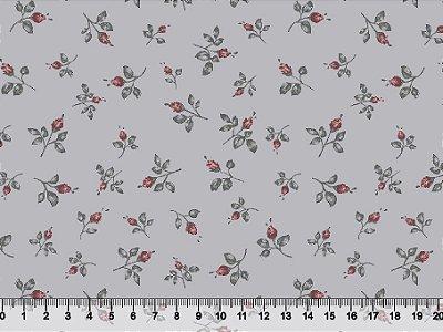Tecido tricoline botões de flores