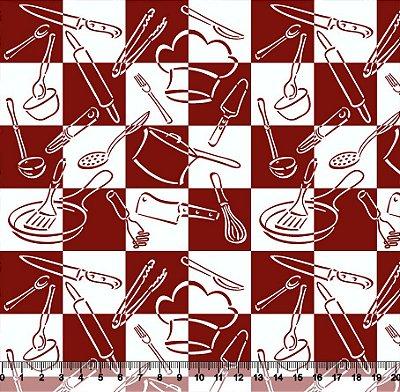 Tecido tricoline xadrez grande cozinha