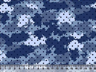 Tecido tricoline camuflado com poá