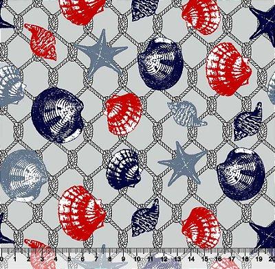 Tecido tricoline conchas rede e estrelas do mar