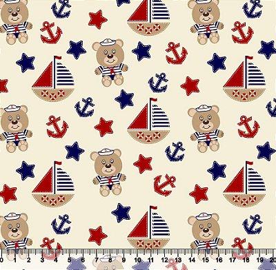 Tecido tricoline barco navio urso marinheiro
